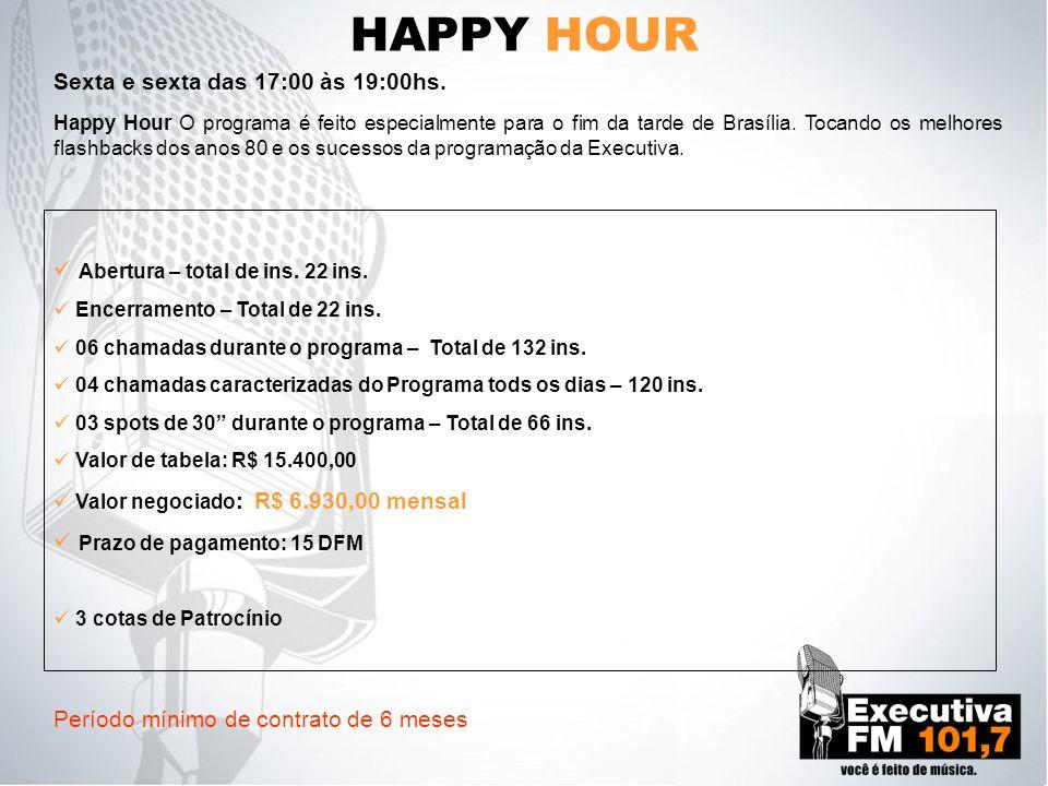 HAPPY HOUR Sexta e sexta das 17:00 às 19:00hs.