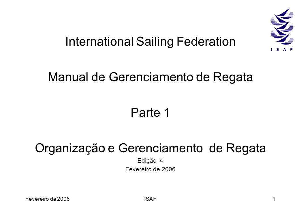 International Sailing Federation Manual de Gerenciamento de Regata