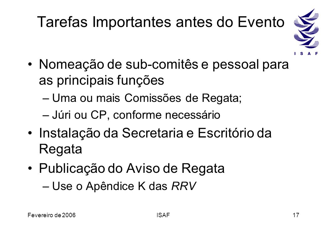 Tarefas Importantes antes do Evento
