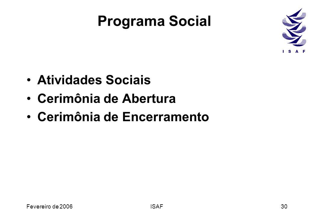 Programa Social Atividades Sociais Cerimônia de Abertura