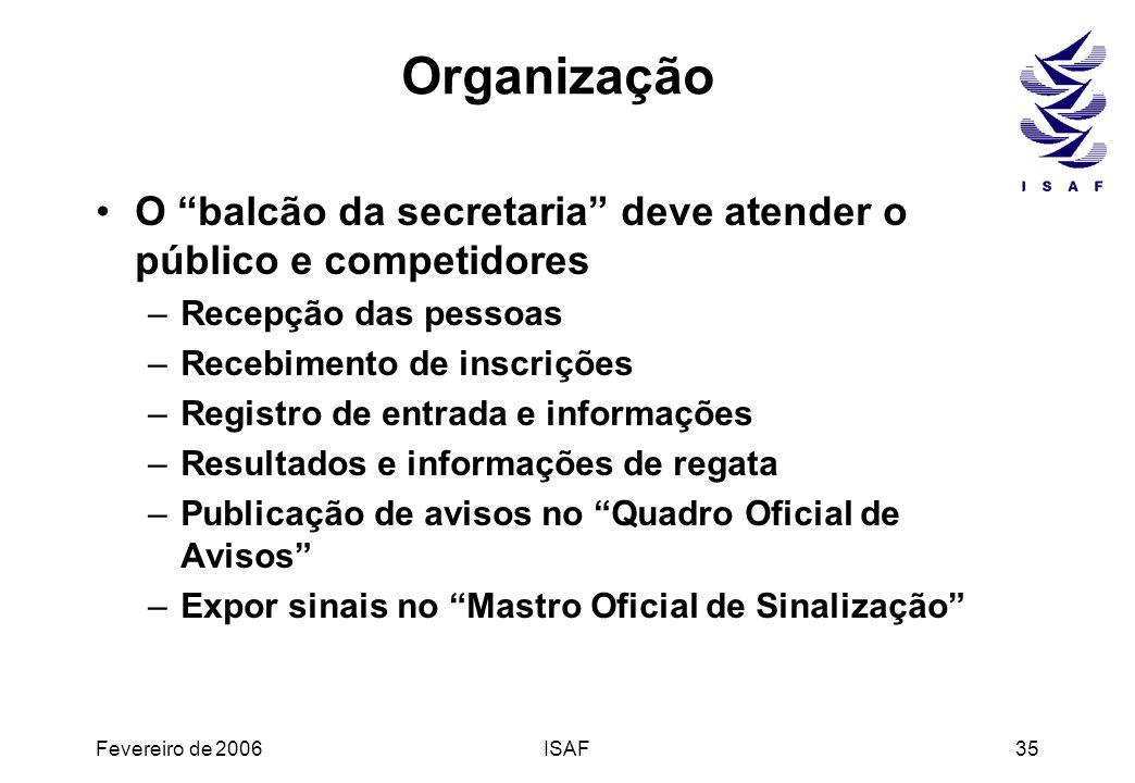 Organização O balcão da secretaria deve atender o público e competidores. Recepção das pessoas. Recebimento de inscrições.