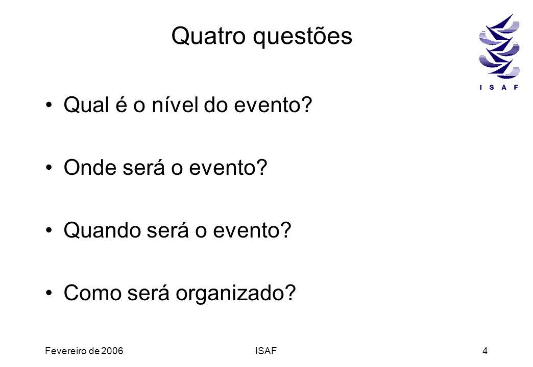 Quatro questões Qual é o nível do evento Onde será o evento