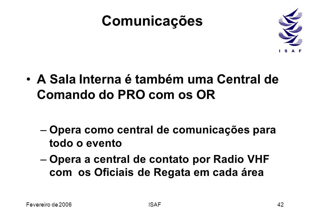 Comunicações A Sala Interna é também uma Central de Comando do PRO com os OR. Opera como central de comunicações para todo o evento.