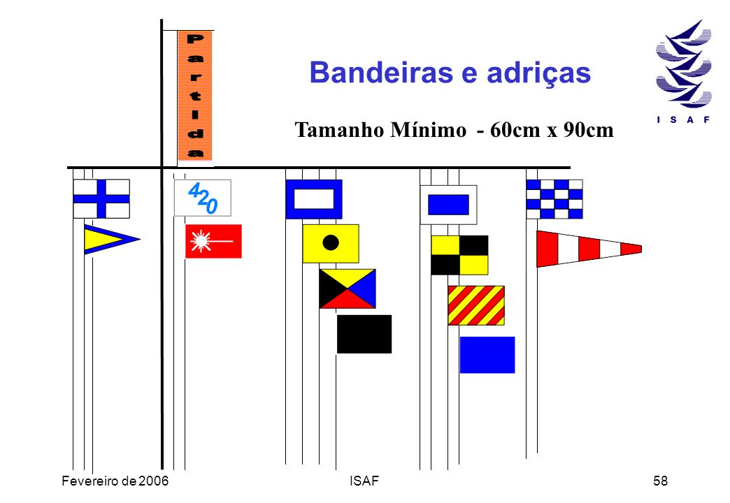 Bandeiras e adriças Tamanho Mínimo - 60cm x 90cm Partida