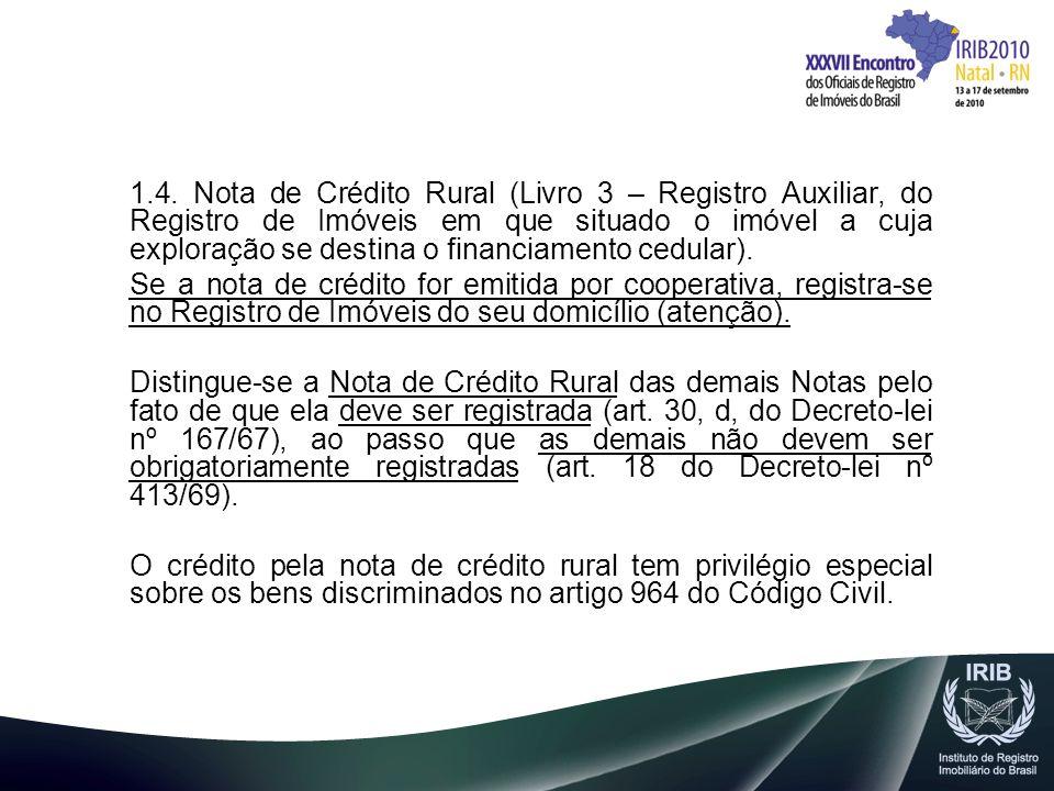 1.4. Nota de Crédito Rural (Livro 3 – Registro Auxiliar, do Registro de Imóveis em que situado o imóvel a cuja exploração se destina o financiamento cedular).