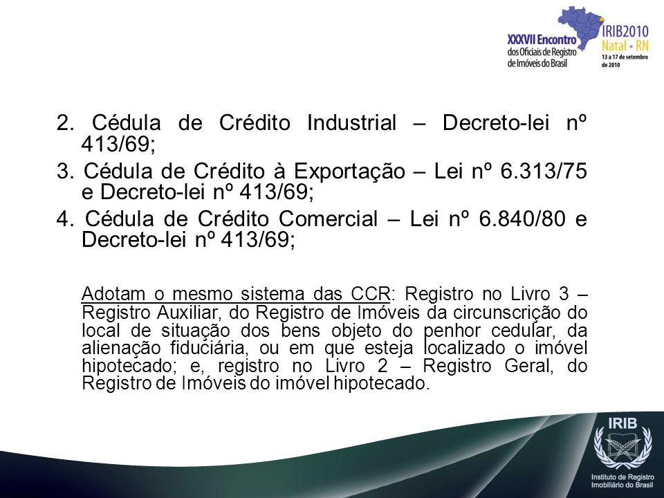 2. Cédula de Crédito Industrial – Decreto-lei nº 413/69;