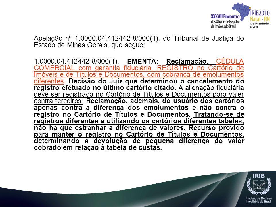 Apelação nº 1.0000.04.412442-8/000(1), do Tribunal de Justiça do Estado de Minas Gerais, que segue: