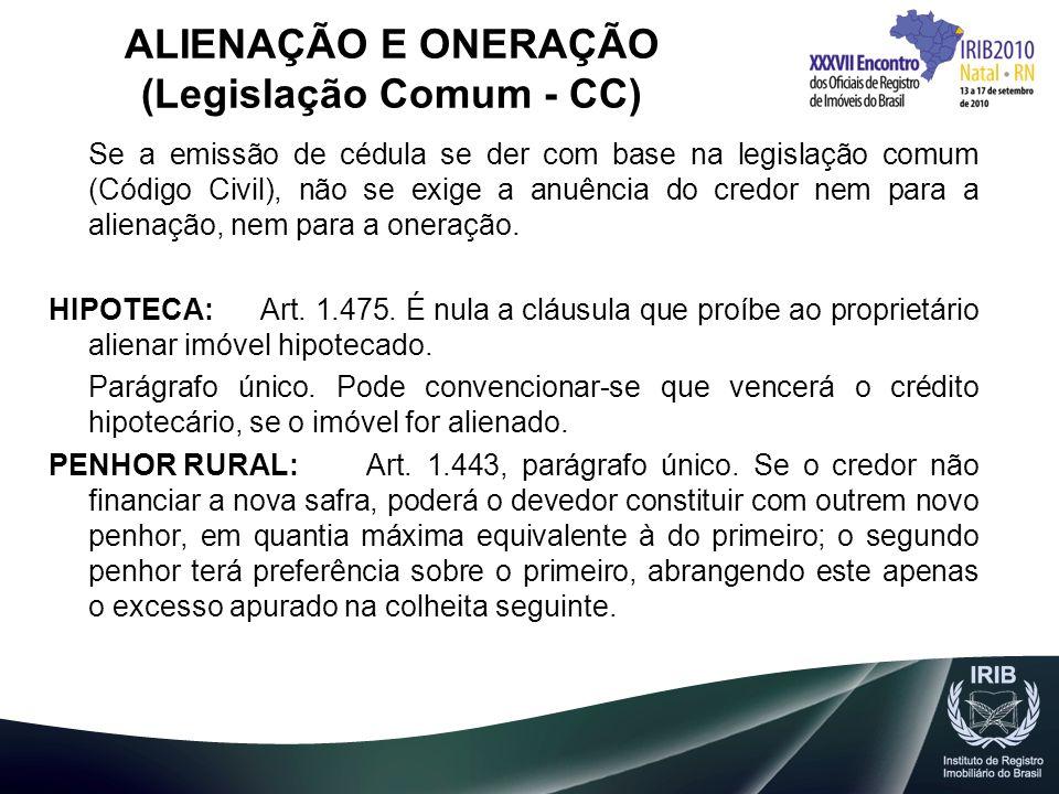 ALIENAÇÃO E ONERAÇÃO (Legislação Comum - CC)