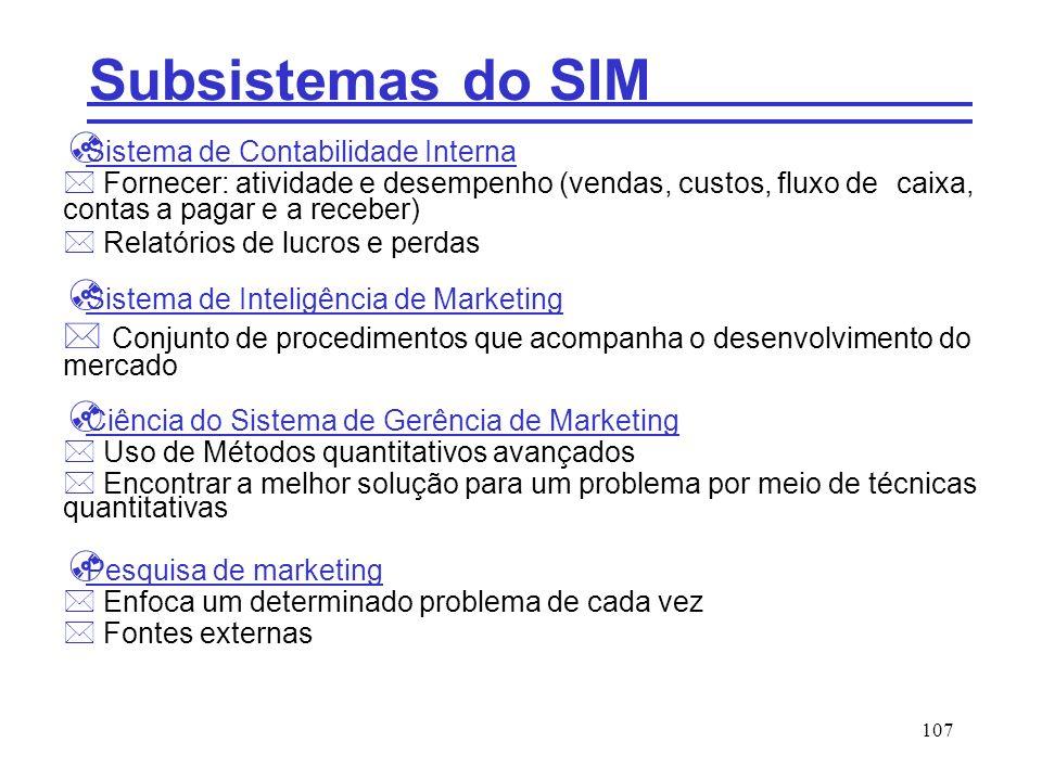Subsistemas do SIM Sistema de Contabilidade Interna. Fornecer: atividade e desempenho (vendas, custos, fluxo de caixa, contas a pagar e a receber)