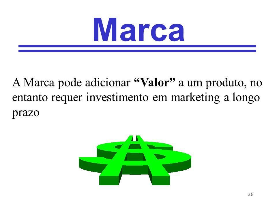 Marca A Marca pode adicionar Valor a um produto, no entanto requer investimento em marketing a longo prazo.