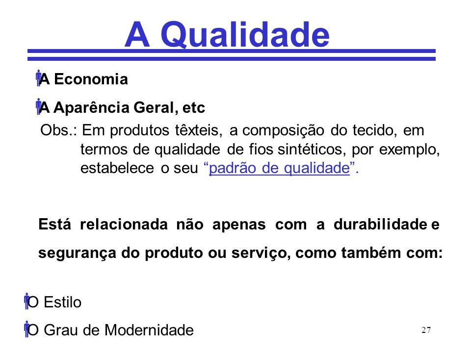 A Qualidade A Economia A Aparência Geral, etc