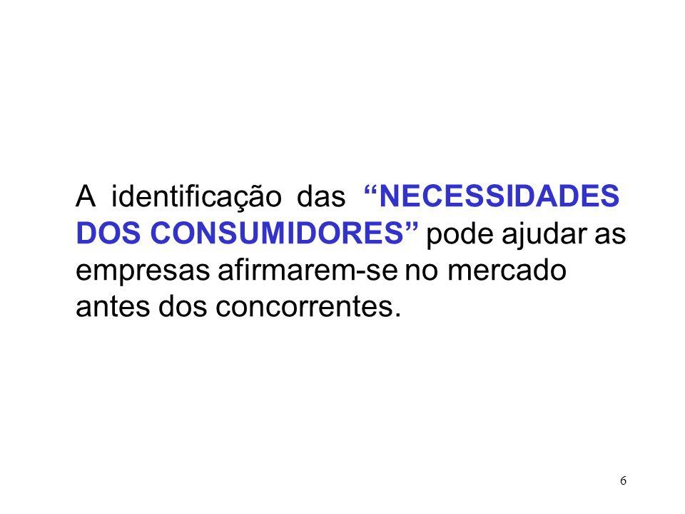 A identificação das NECESSIDADES DOS CONSUMIDORES pode ajudar as empresas afirmarem-se no mercado antes dos concorrentes.