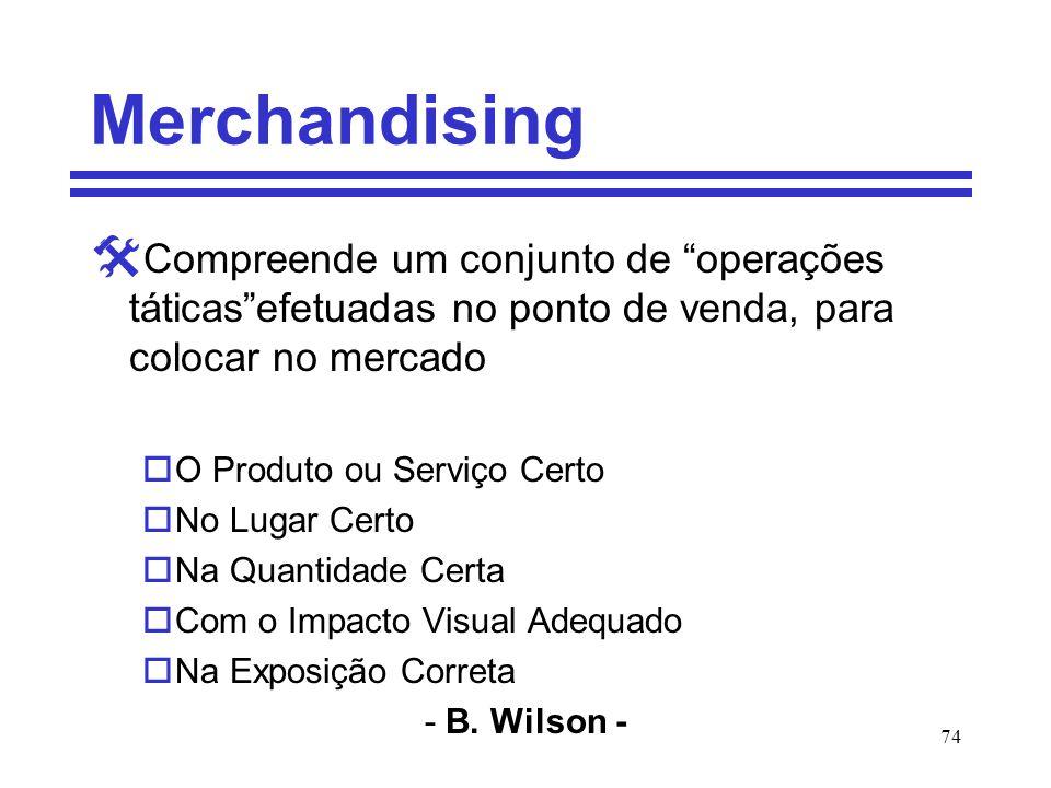 Merchandising Compreende um conjunto de operações táticas efetuadas no ponto de venda, para colocar no mercado.
