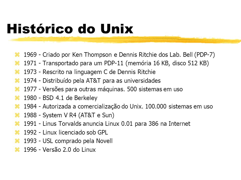 Histórico do Unix 1969 - Criado por Ken Thompson e Dennis Ritchie dos Lab. Bell (PDP-7)
