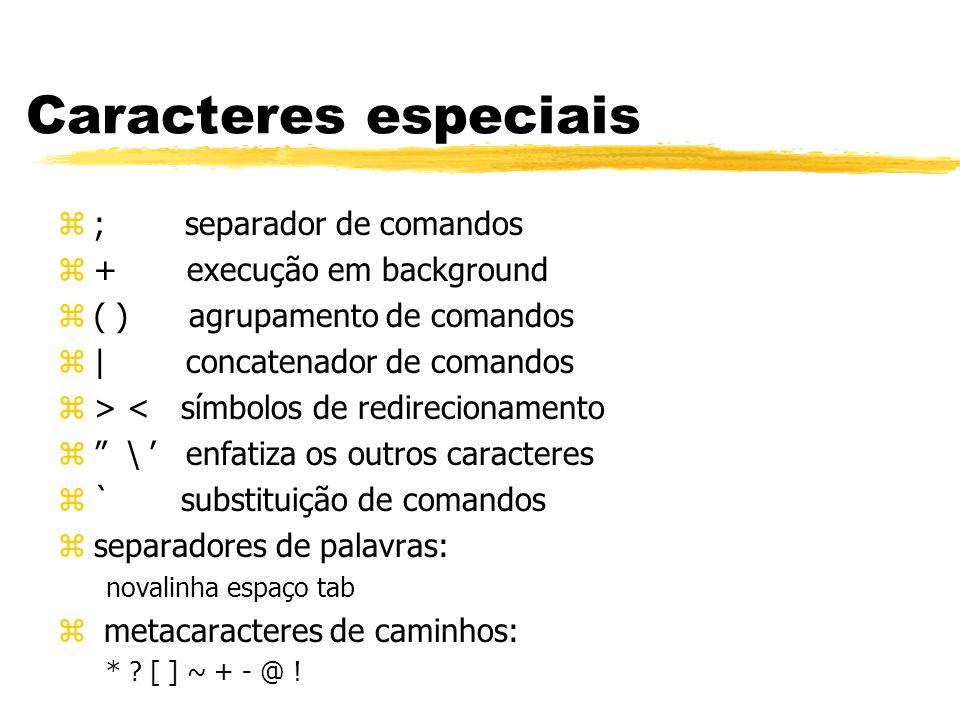 Caracteres especiais ; separador de comandos + execução em background