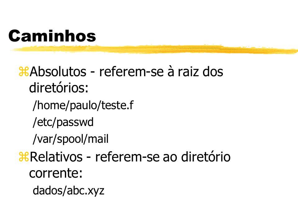 Caminhos Absolutos - referem-se à raiz dos diretórios: