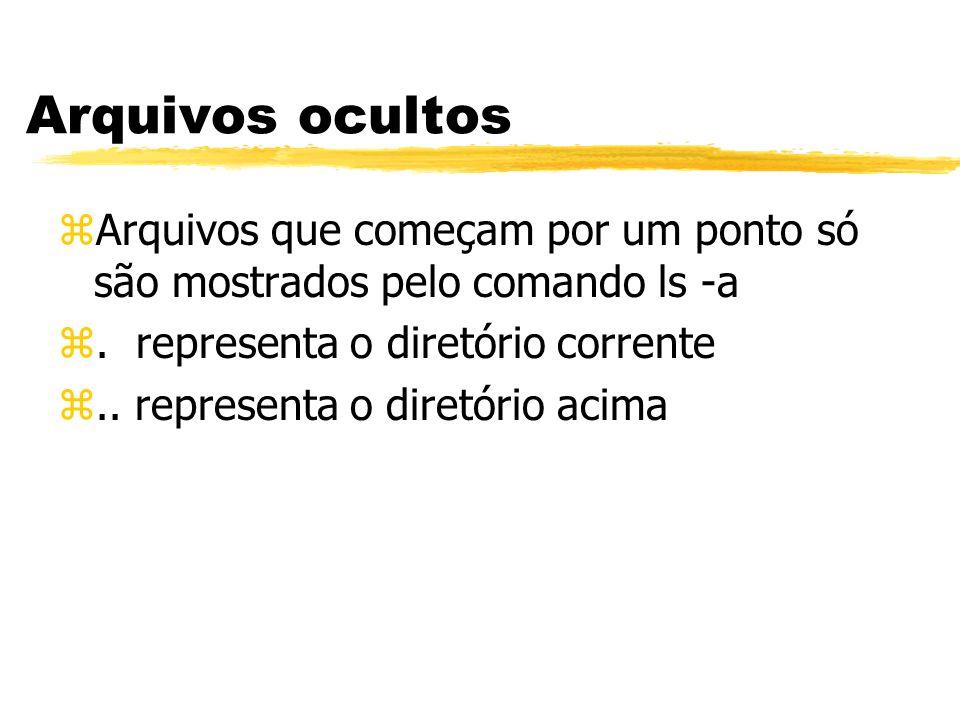 Arquivos ocultosArquivos que começam por um ponto só são mostrados pelo comando ls -a. . representa o diretório corrente.