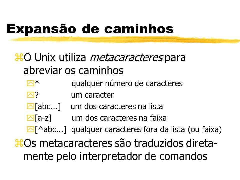 Expansão de caminhos O Unix utiliza metacaracteres para abreviar os caminhos. * qualquer número de caracteres.