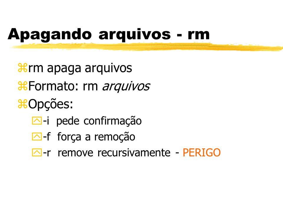 Apagando arquivos - rm rm apaga arquivos Formato: rm arquivos Opções: