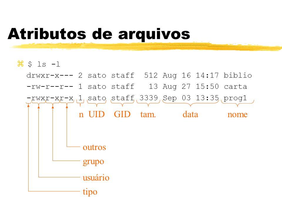 Atributos de arquivos n UID GID tam. data nome outros grupo usuário