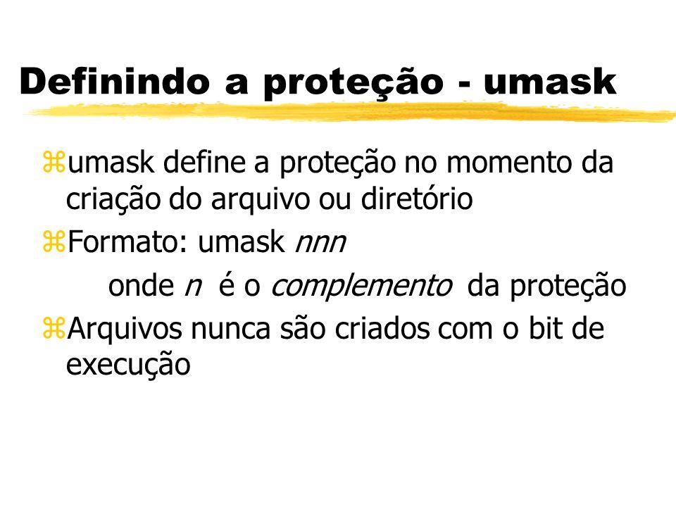 Definindo a proteção - umask