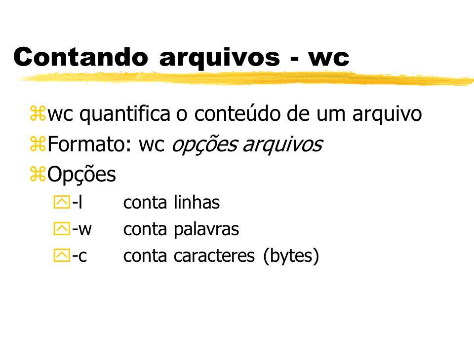 Contando arquivos - wc wc quantifica o conteúdo de um arquivo