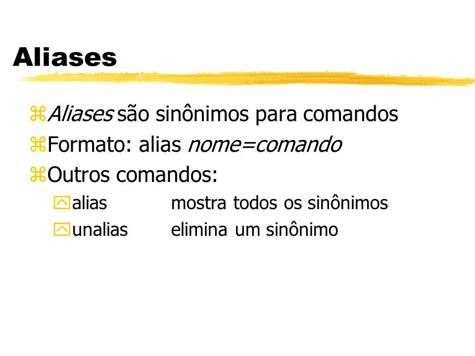Aliases Aliases são sinônimos para comandos