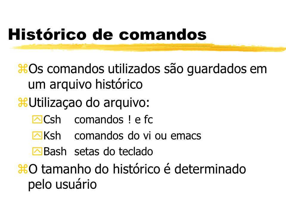 Histórico de comandos Os comandos utilizados são guardados em um arquivo histórico. Utilizaçao do arquivo:
