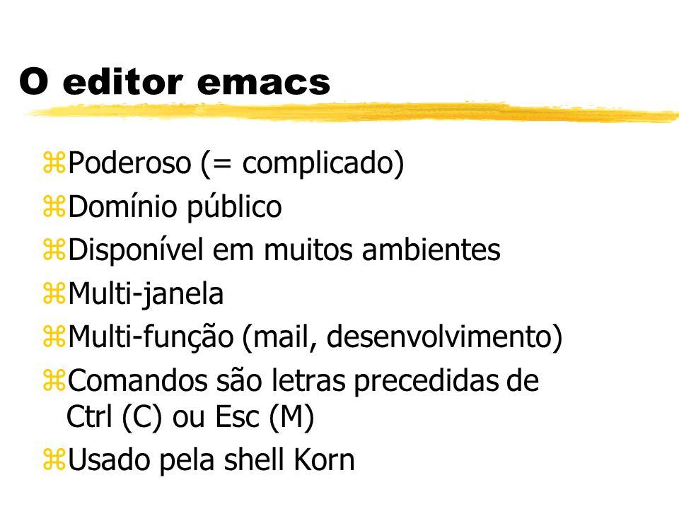 O editor emacs Poderoso (= complicado) Domínio público