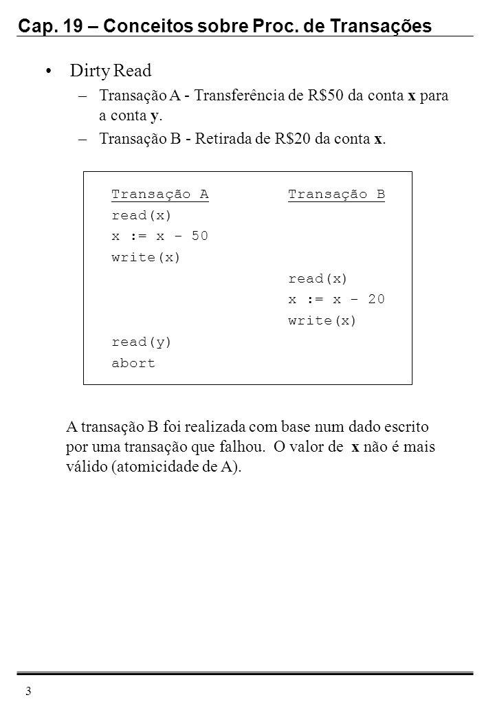 Dirty ReadTransação A - Transferência de R$50 da conta x para a conta y. Transação B - Retirada de R$20 da conta x.