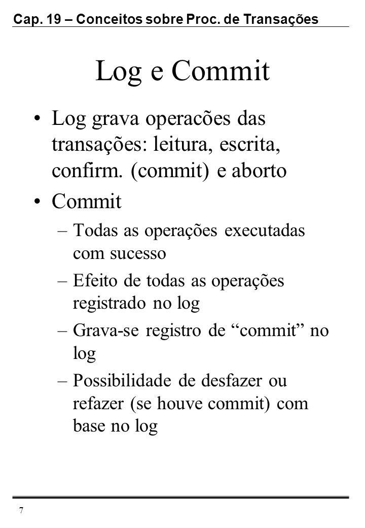 Log e Commit Log grava operacões das transações: leitura, escrita, confirm. (commit) e aborto. Commit.
