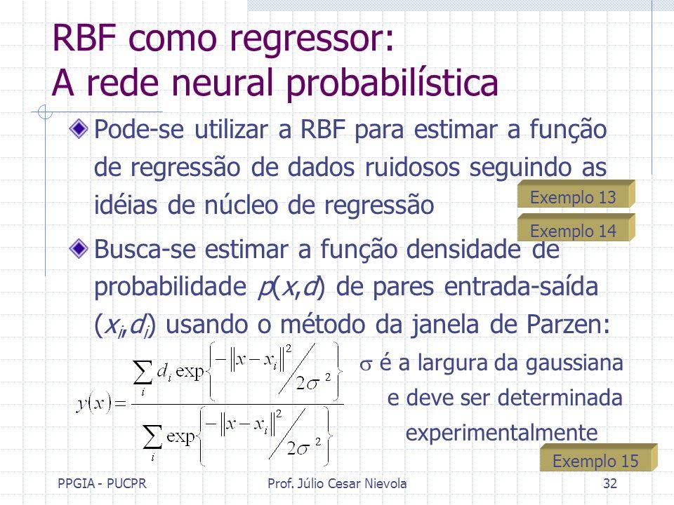RBF como regressor: A rede neural probabilística