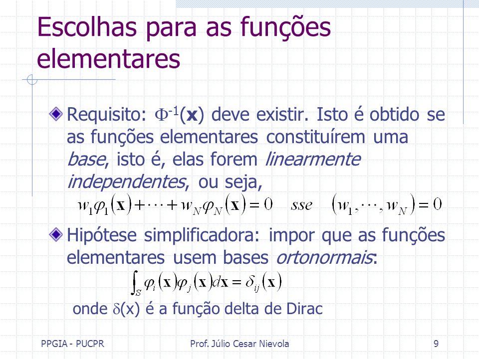 Escolhas para as funções elementares