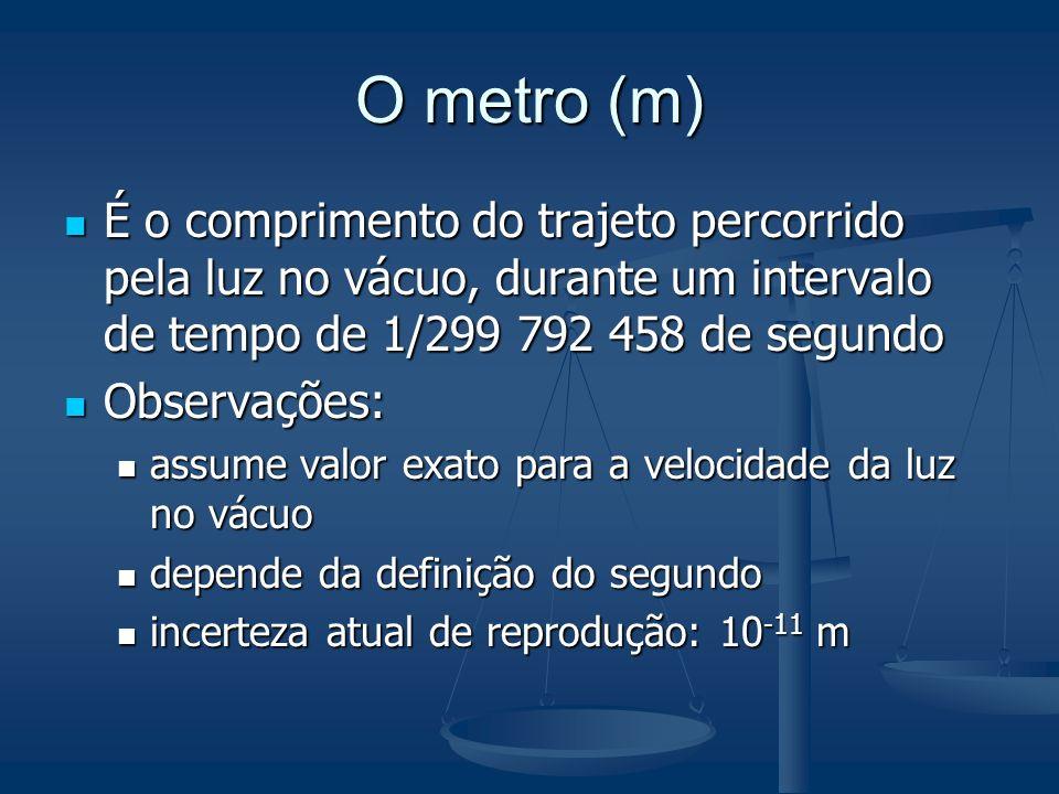 O metro (m)É o comprimento do trajeto percorrido pela luz no vácuo, durante um intervalo de tempo de 1/299 792 458 de segundo.