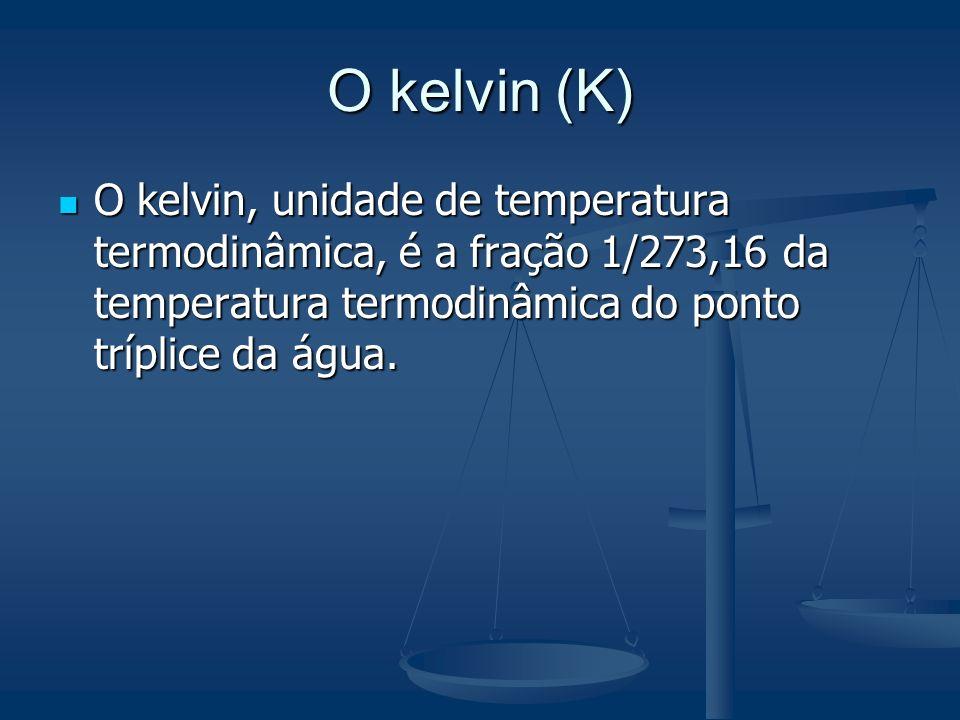 O kelvin (K)O kelvin, unidade de temperatura termodinâmica, é a fração 1/273,16 da temperatura termodinâmica do ponto tríplice da água.