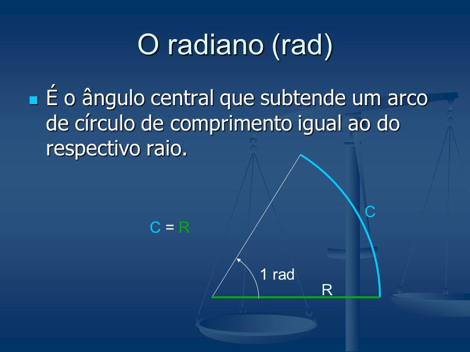 O radiano (rad)É o ângulo central que subtende um arco de círculo de comprimento igual ao do respectivo raio.