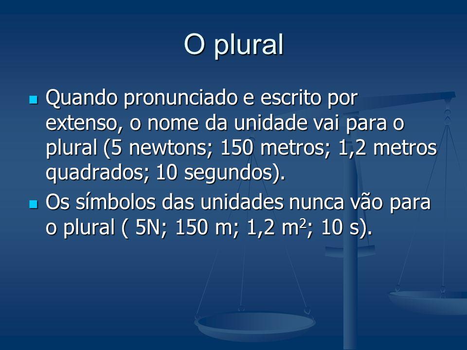 O pluralQuando pronunciado e escrito por extenso, o nome da unidade vai para o plural (5 newtons; 150 metros; 1,2 metros quadrados; 10 segundos).
