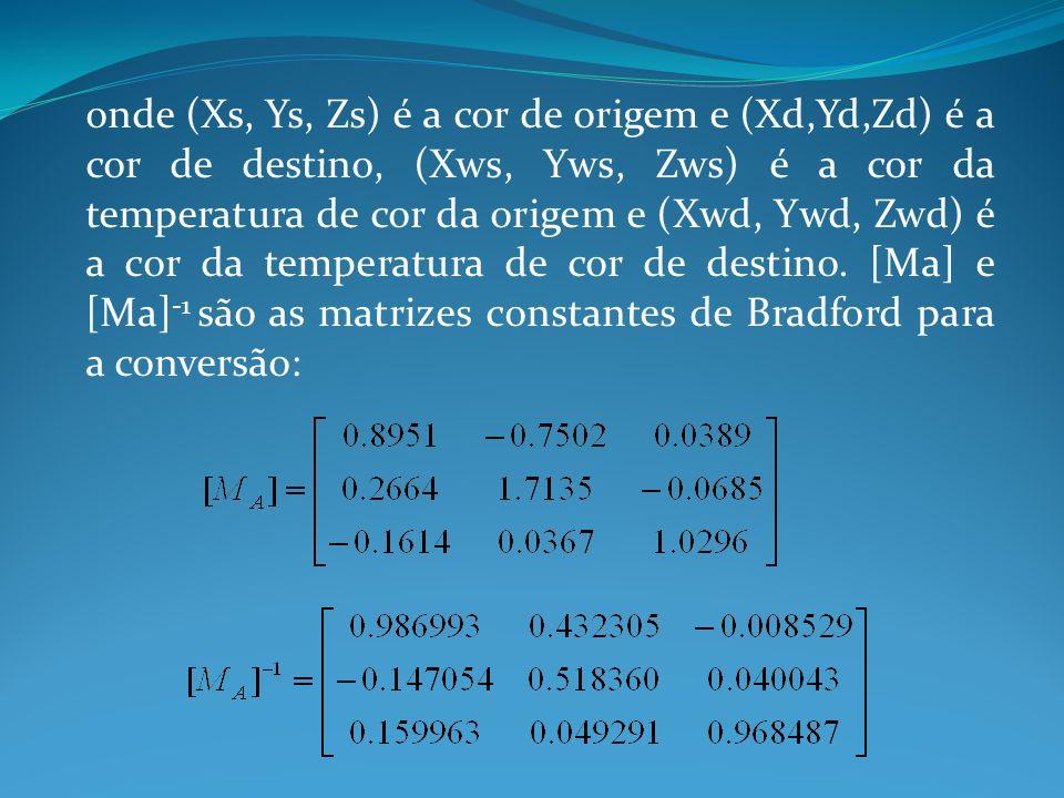 onde (Xs, Ys, Zs) é a cor de origem e (Xd,Yd,Zd) é a cor de destino, (Xws, Yws, Zws) é a cor da temperatura de cor da origem e (Xwd, Ywd, Zwd) é a cor da temperatura de cor de destino.