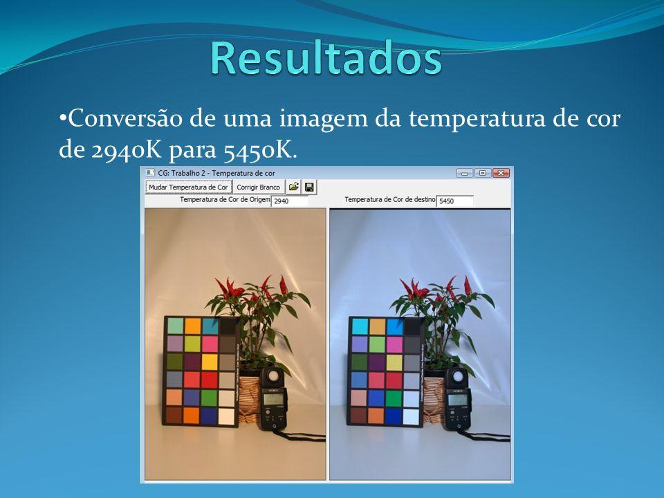 Resultados Conversão de uma imagem da temperatura de cor de 2940K para 5450K.