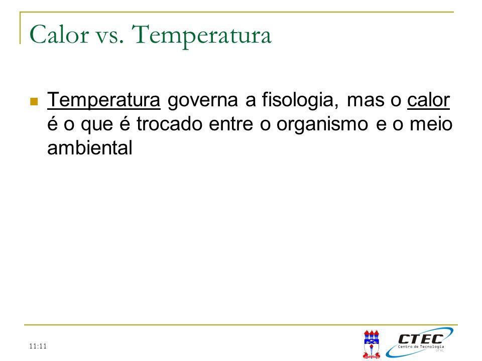 Calor vs. Temperatura Temperatura governa a fisologia, mas o calor é o que é trocado entre o organismo e o meio ambiental.
