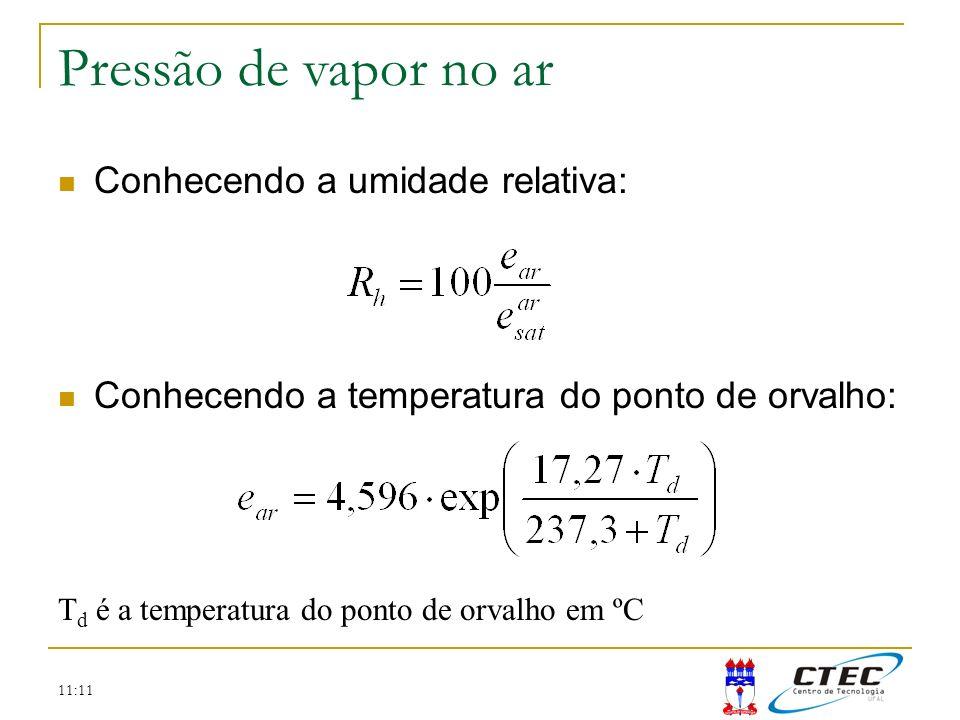 Pressão de vapor no ar Temperatura Conhecendo a umidade relativa: