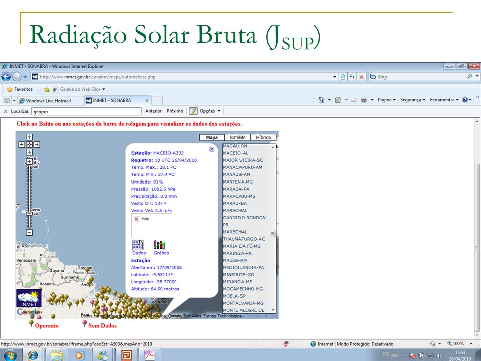 Radiação Solar Bruta (JSUP)
