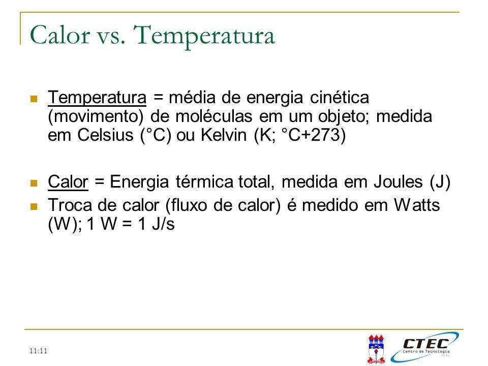 Calor vs. TemperaturaTemperatura = média de energia cinética (movimento) de moléculas em um objeto; medida em Celsius (°C) ou Kelvin (K; °C+273)