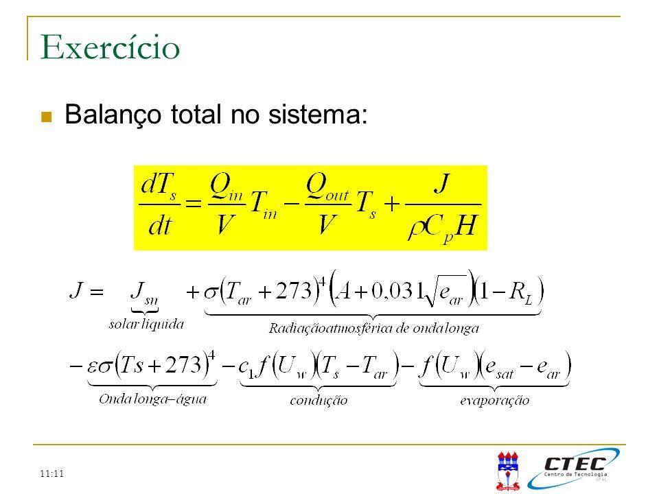 Exercício Balanço total no sistema: 11:11