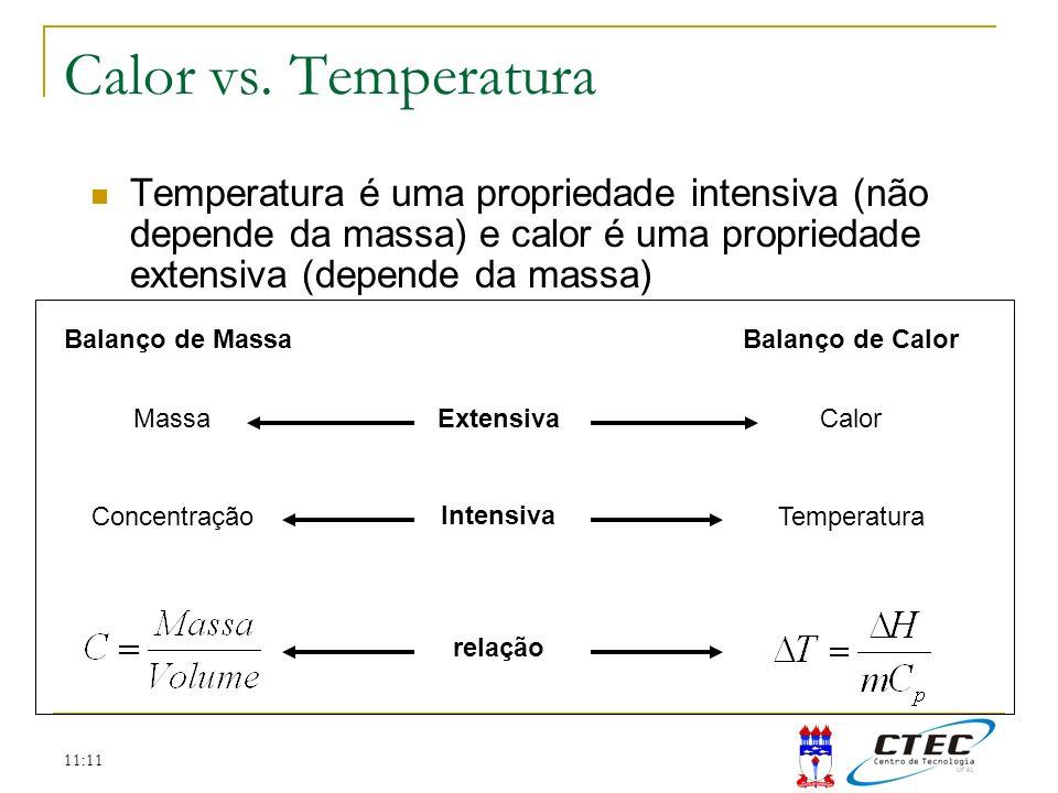 Calor vs. Temperatura Temperatura é uma propriedade intensiva (não depende da massa) e calor é uma propriedade extensiva (depende da massa)