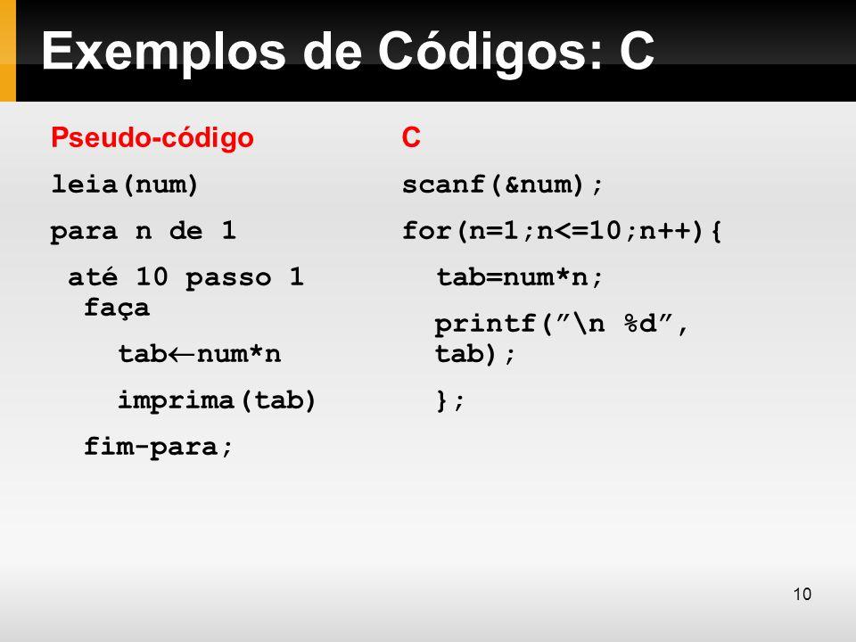 Exemplos de Códigos: C Pseudo-código leia(num) para n de 1 até 10 passo 1 faça tab¬num*n imprima(tab) fim-para;
