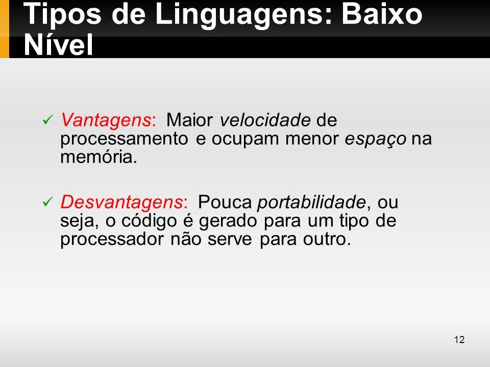 Tipos de Linguagens: Baixo Nível