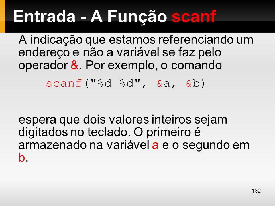 Entrada - A Função scanf