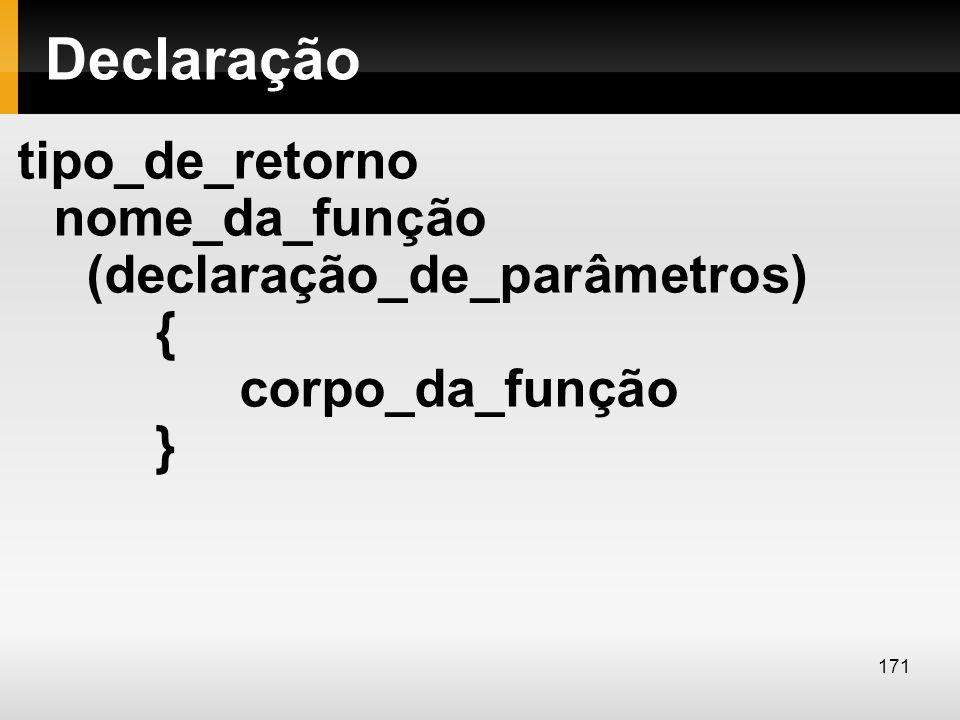 Declaração tipo_de_retorno nome_da_função (declaração_de_parâmetros) { corpo_da_função }