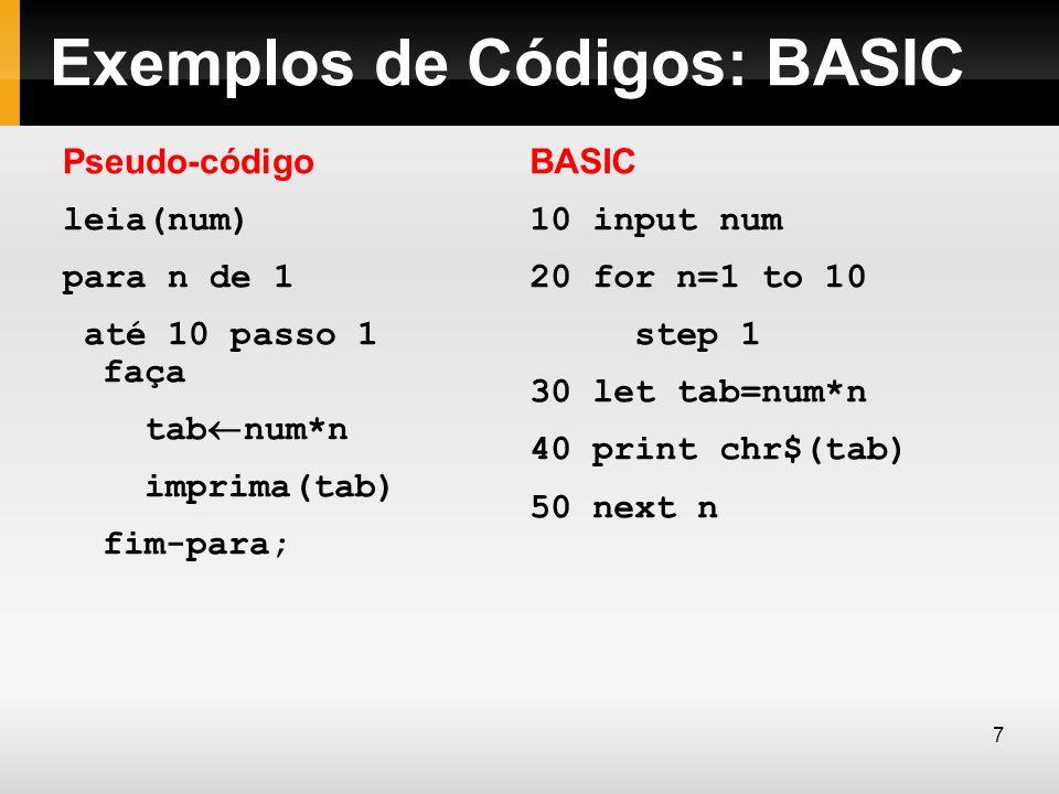 Exemplos de Códigos: BASIC